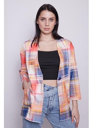 Jument Kadın Tek Düğmeli Cepli Desenli Uzun Astarsız Blazer Ceket-Gökkuşağı Renkli